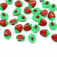 Kunststoff - Knopf Erdbeere ca. 15 mm mit Öse Bild 1