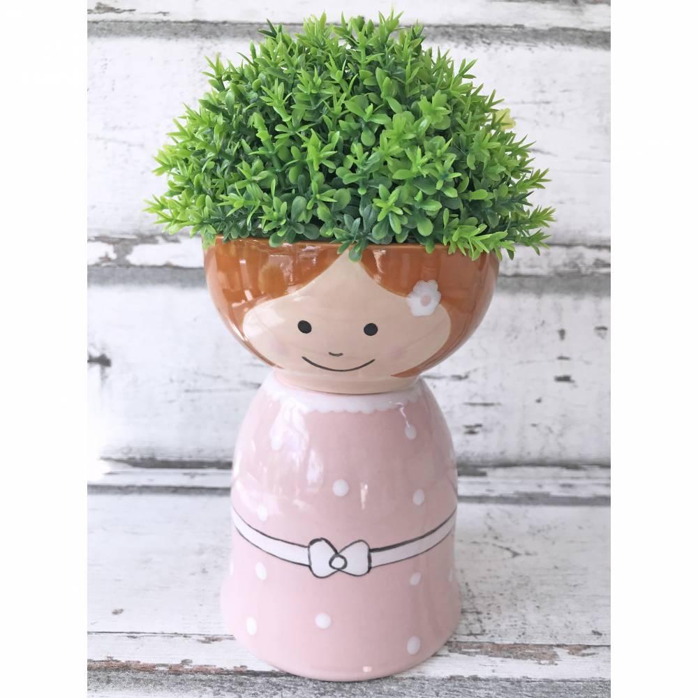 Blumenmädchen mit rosa Kleid, Keramik handbemalt Bild 1