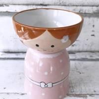 Blumenmädchen mit rosa Kleid, Keramik handbemalt Bild 2