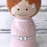 Blumenmädchen mit rosa Kleid, Keramik handbemalt Bild 3