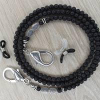 Halskette XXL Lava Perlen Blatt Spacer Brillenkette Maskenkette Mundschutzkette Sonnenbrille Brille Maske Mundschutz Bild 1