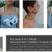 Halskette XXL Lava Perlen Blatt Spacer Brillenkette Maskenkette Mundschutzkette Sonnenbrille Brille Maske Mundschutz Bild 5