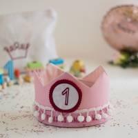 Geburtstagskrone mit wechselbaren Zahlen, rosa Superkind plus Tasche  Bild 1