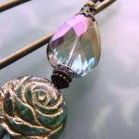 Schalnadel Rose für die Elster, 10cm bronze Schmucknadel mit böhmischen Glasperlen Bild 2