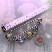 Schalnadel Rose für die Elster, 10cm bronze Schmucknadel mit böhmischen Glasperlen Bild 3