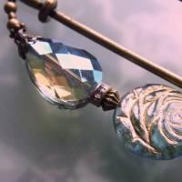 Schalnadel Rose für die Elster, 10cm bronze Schmucknadel mit böhmischen Glasperlen Bild 5