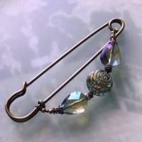 Schalnadel Rose für die Elster, 10cm bronze Schmucknadel mit böhmischen Glasperlen Bild 8