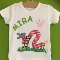 Geburtstagsshirt/T-Shirt Personalisierbar Name Applikation benäht Maus Zahl Name ab Gr.80 Bild 1
