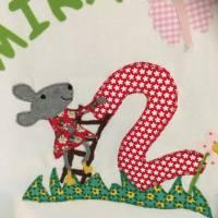 Geburtstagsshirt/T-Shirt Personalisierbar Name Applikation benäht Maus Zahl Name ab Gr.80 Bild 2