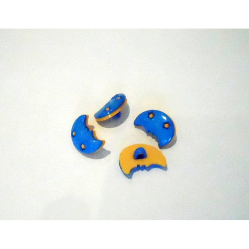 Kunststoff - Knopf Kinderknopf Mond hellblau 18 mm Bild 1