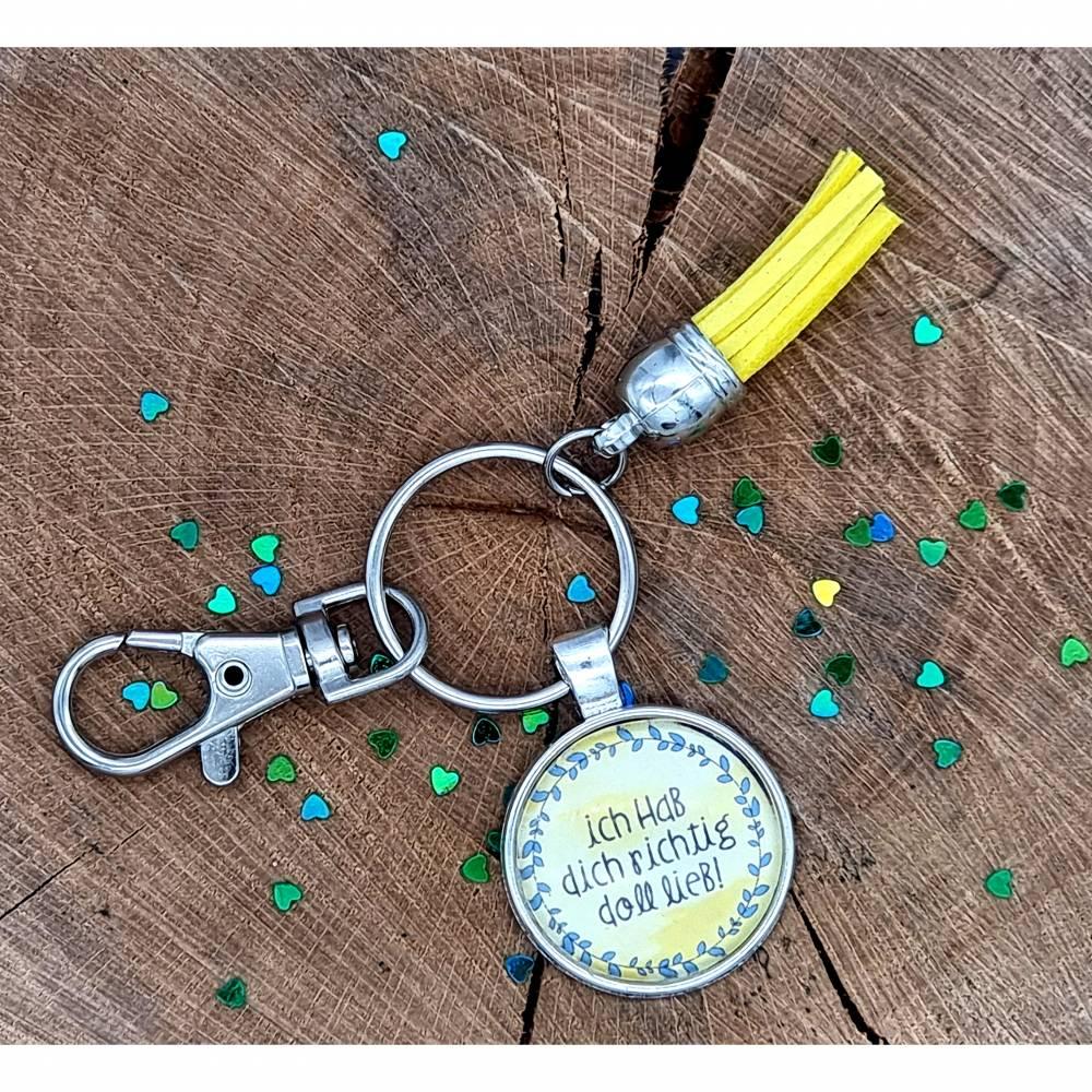 """Cabochon Schlüsselanhänger """"ich hab dich richtig doll lieb""""  Bild 1"""