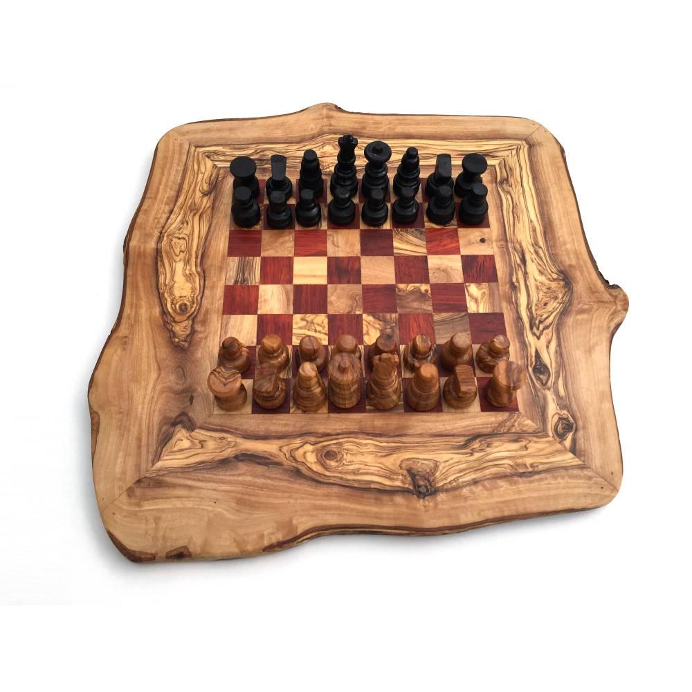 Schachspiel rustikal, Schachbrett Gr. M inkl. Schachfiguren, aus Olivenholz, in Handarbeit, Geschenk. Bild 1