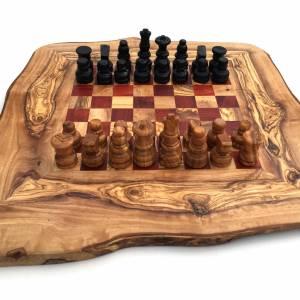 Schachspiel rustikal, Schachbrett Gr. M inkl. Schachfiguren, aus Olivenholz, in Handarbeit, Geschenk. Bild 2