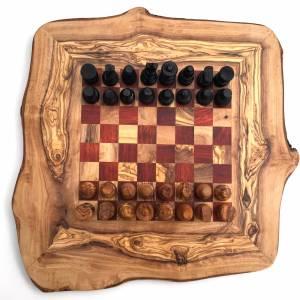 Schachspiel rustikal, Schachbrett Gr. M inkl. Schachfiguren, aus Olivenholz, in Handarbeit, Geschenk. Bild 3