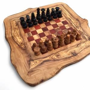Schachspiel rustikal, Schachbrett Gr. M inkl. Schachfiguren, aus Olivenholz, in Handarbeit, Geschenk. Bild 4