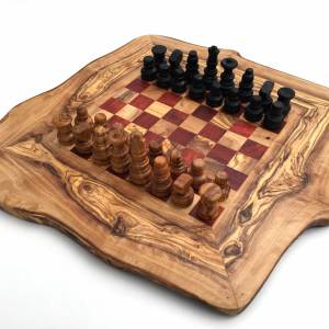 Schachspiel rustikal, Schachbrett Gr. M inkl. Schachfiguren, aus Olivenholz, in Handarbeit, Geschenk. Bild 5