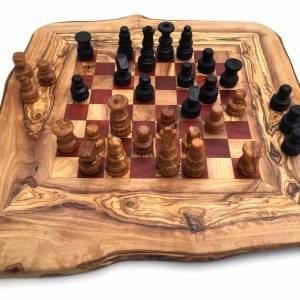 Schachspiel rustikal, Schachbrett Gr. M inkl. Schachfiguren, aus Olivenholz, in Handarbeit, Geschenk. Bild 6