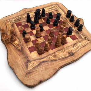 Schachspiel rustikal, Schachbrett Gr. M inkl. Schachfiguren, aus Olivenholz, in Handarbeit, Geschenk. Bild 7