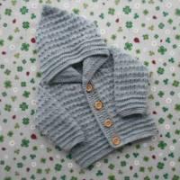 Strickjacke mit Kapuze ab Größe 50/56 bis Größe 92/98 grau babyjacke pullover jacke gestrickt handarbeit geschenk gebur Bild 1