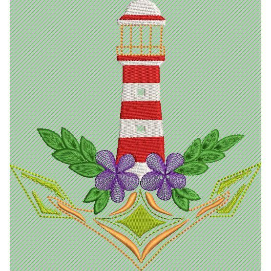 Stickdatei Anker Leuchtturm Blume14x15cm Bild 1