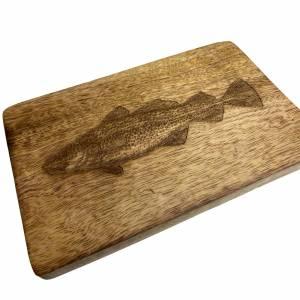 Hummer oder Kabeljau auf Mangobrettchen 22x14 cm - Brotzeitbrettchen Brettchen oder Wandbild Bild 5