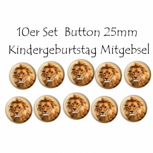 10er Set Button Löwe, Kindergeburtstag Mitgebsel, Mitbringsel, Gastgeschenk, Giveaway