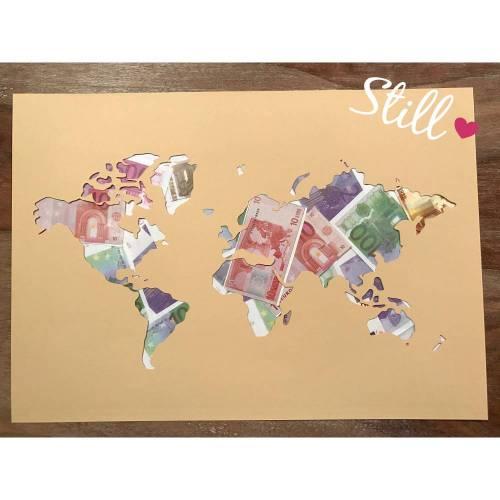 Geldgeschenk *Weltkarte*
