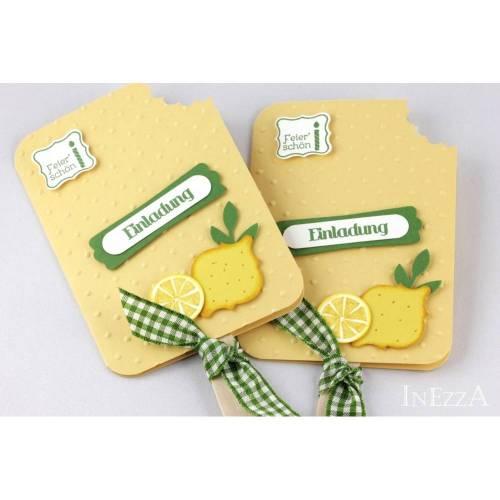 Einladungskarte Eis am Stiel Zitrone Handarbeit mit echtem Holzstiel
