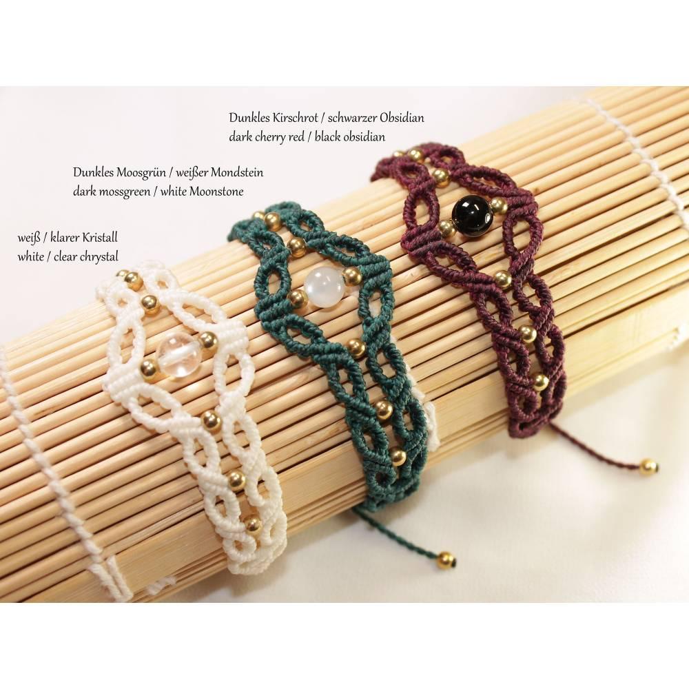 Makramee Armband mit Edelstein-Perle Größen verstellbar, Schmuck für jeden Tag, Geschenk für Sie, kann personalisiert werden Bild 1