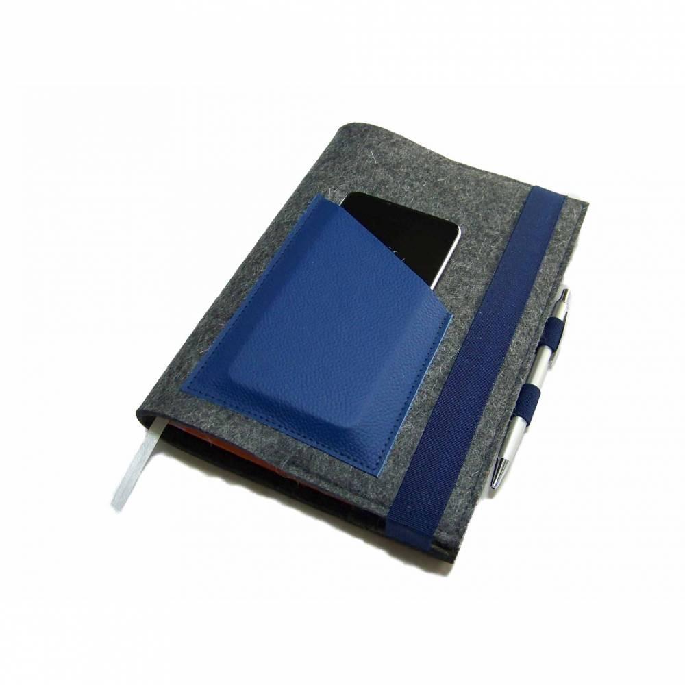 Kalenderhülle mit Handyfach + Stifthalter + Kreditkartenfach aus Wollfilz Leder für Din A5 Buchkalender, Notizbuch bis max. 21 x 15 x 2,5cm Bild 1