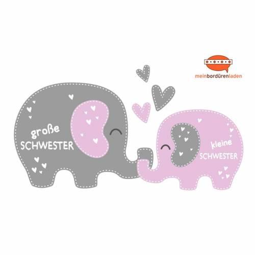 Geschwister - Wandtattoo   Elefanten: große Schwester - kleine Schwester