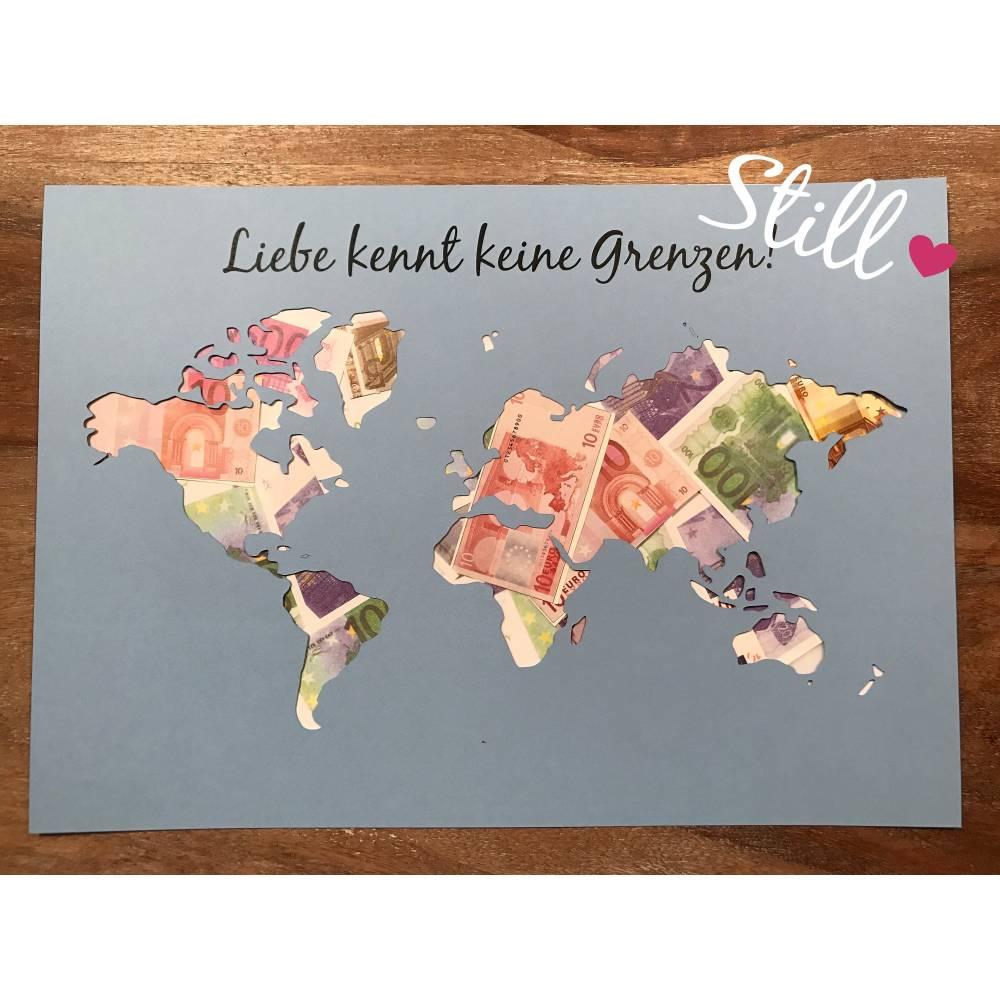 Geldgeschenk Hochzeit *Weltkarte* Liebe