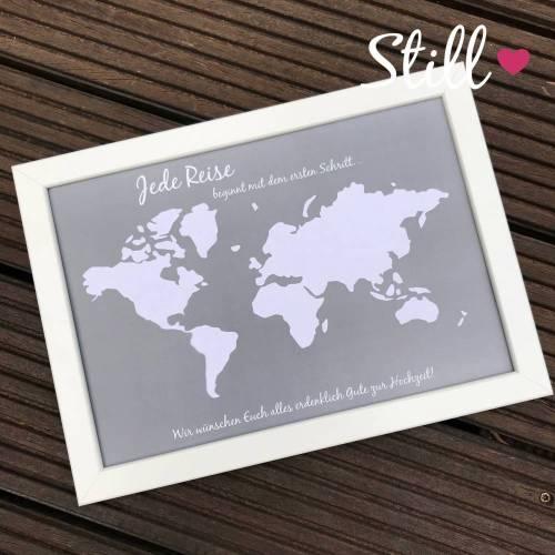Geldgeschenk *Welt* Grau/Weiß + Rahmen Hochzeit