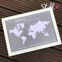 Geldgeschenk *Welt* Grau/Weiß + Rahmen Hochzeit Bild 1