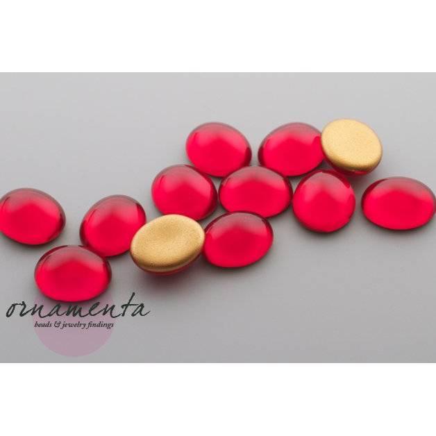 6 Cabochons ~ 12x10mm ~ siam rot ~ Glas ~ Material zur Schmuckherstellung Bild 1