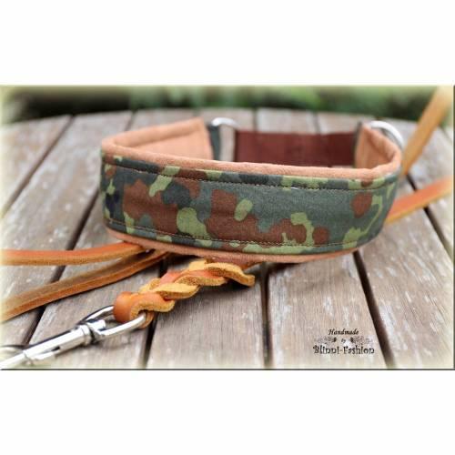 Halsband CAMOUFLAGE mit Zugstopp für deinen Hund, Hundehalsband in Flecktarn, Martingale