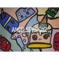 Kawaii Pop Art Acrylbild Moderne Kunst Malerei auf Leinwand Bild 1