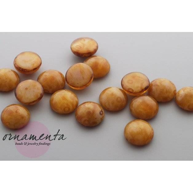 6 Cabochons ~ 10mm ~ braun/beige ~ Glas ~ Material zur Schmuckherstellung Bild 1