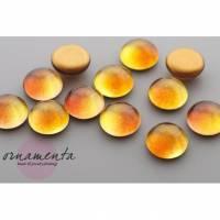 6 Glascabochons ~ 12mm ~ bernstein/gelb ~ ombre ~ Material zur Schmuckherstellung Bild 1