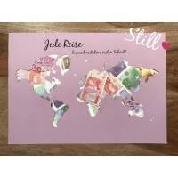 Geldgeschenk *Weltkarte* Jede Reise beginnt... Bild 1