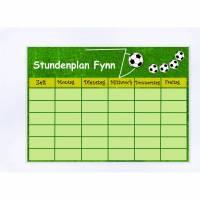 Stundenplan personalisiert A4 Fußball, wiederbeschreibbar, Einschulung, Schule, Schulanfang, Name  Schulkind Bild 1