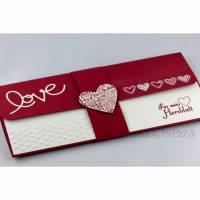 Geschenkverpackung für Konzertkarte oder Theaterkarte Einladung LOVE dunkelrot für Valentinstag Geburtstag Hochzeit Bild 1