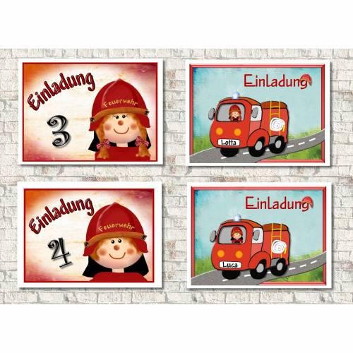 Einladungskarten Kindergeburtstag  Feuerwehr, Feuerwehrmann, Feuerwehrfrau, personalisiert