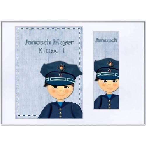 Set Heftumschlag A5, Schutzhülle  für Hausaufgabenheft /Schulheft mit Lesezeichen, Polizei, Polizeiauto Name  Schulkind