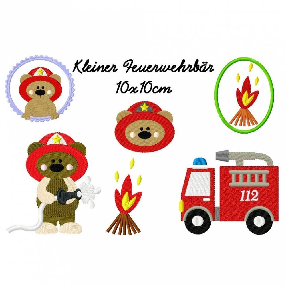 Stickdatei, digitale Stickdatei,Stickdateien Kl.Feuerwehrbär 10x10cm Bild 1