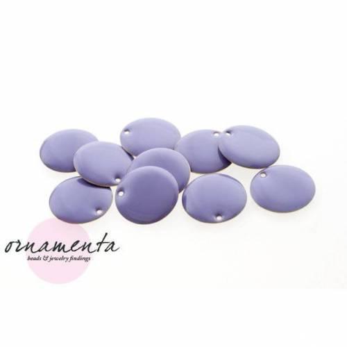 10Stk ~ 16mm ~ Emaille ~ Messing ~ violett ~ Material zur Schmuckherstellung