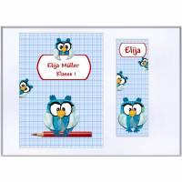 Set Heftumschlag A5, Schutzhülle  für Hausaufgabenheft /Schulheft mit Lesezeichen, Eulen, Name  Schulkind Bild 1