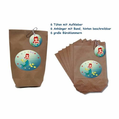 6er Set Mitgebsel Tüten, Giveaway, Gastgeschenk Tüten, Partytüten Meerjungfrau, Nixe, Kindergeburtstag