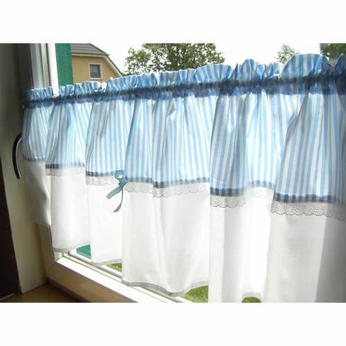 Gardine mit Streifen ,Hellblau, Landhausgardinen