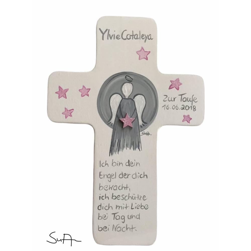 Schutzengelkreuz für Mädchen Taufkreuz, Kinderkreuz Geschenk zur Taufe / Geburt/Kommunion Bild 1